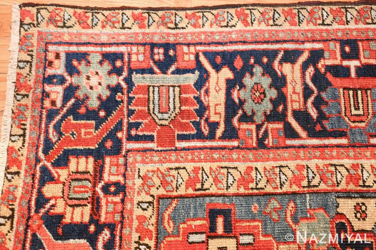 antique red background heriz persian rug 49384 corner Nazmiyal