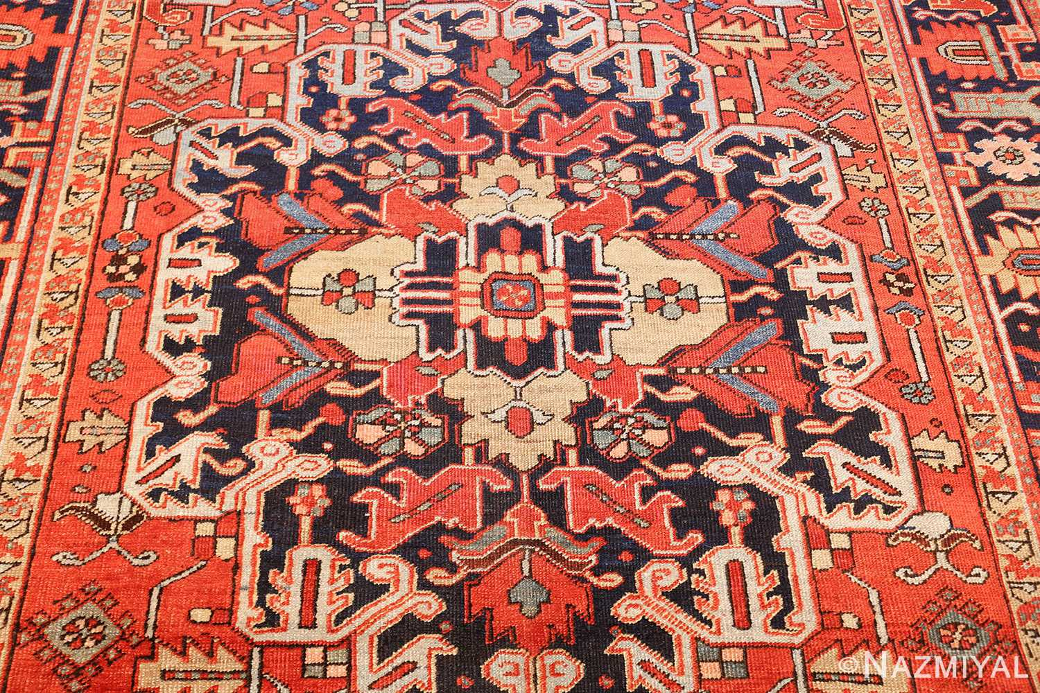 antique red background heriz persian rug 49384 medallion Nazmiyal