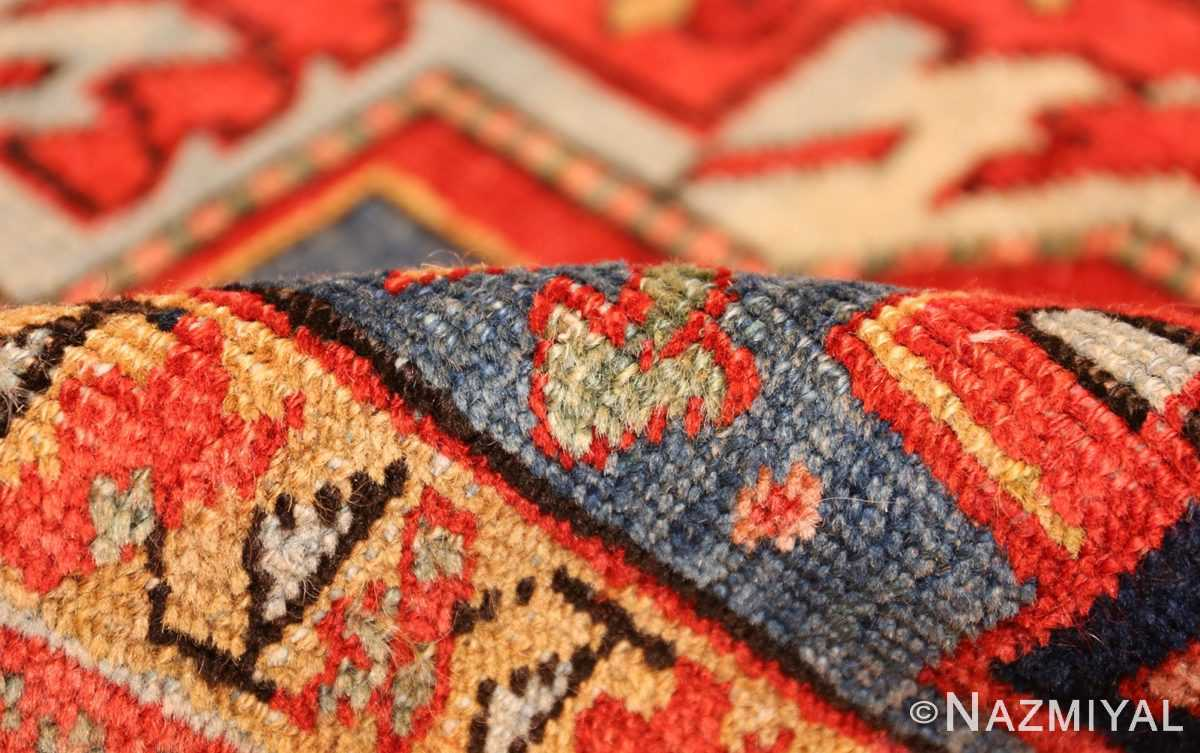 antique red background heriz persian rug 49384 pile Nazmiyal