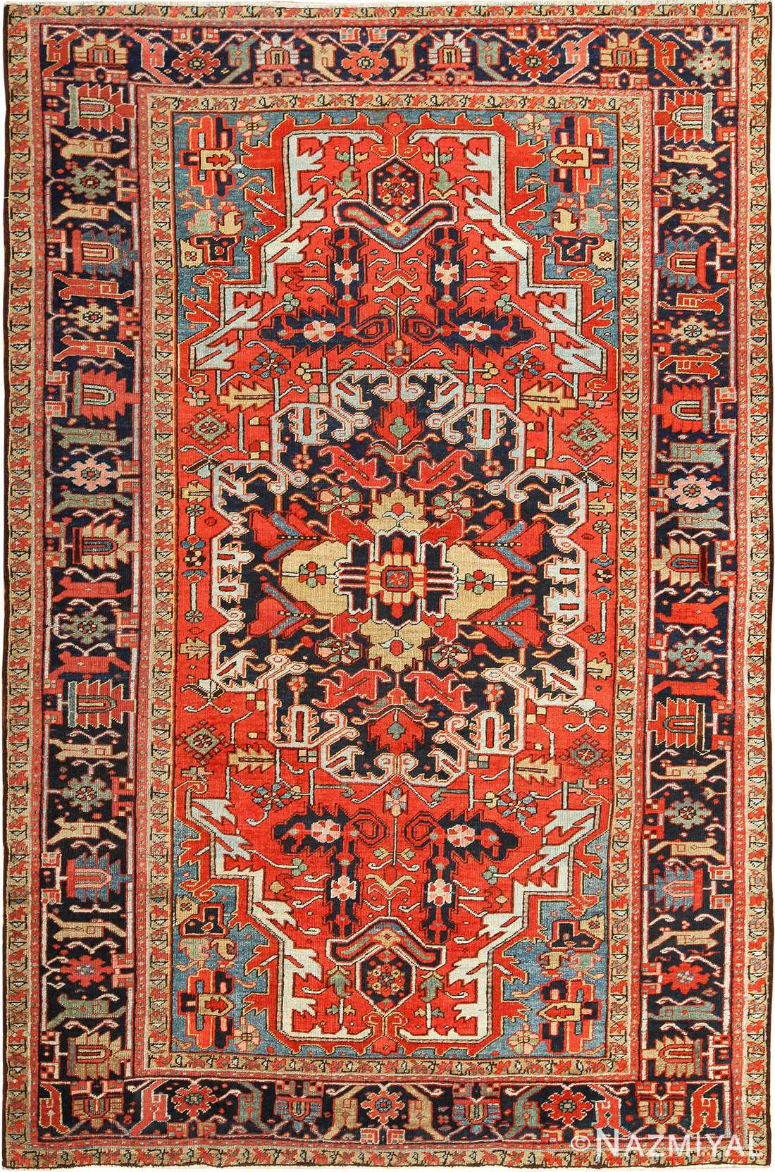 antique red background heriz persian rug 49384 Nazmiyal