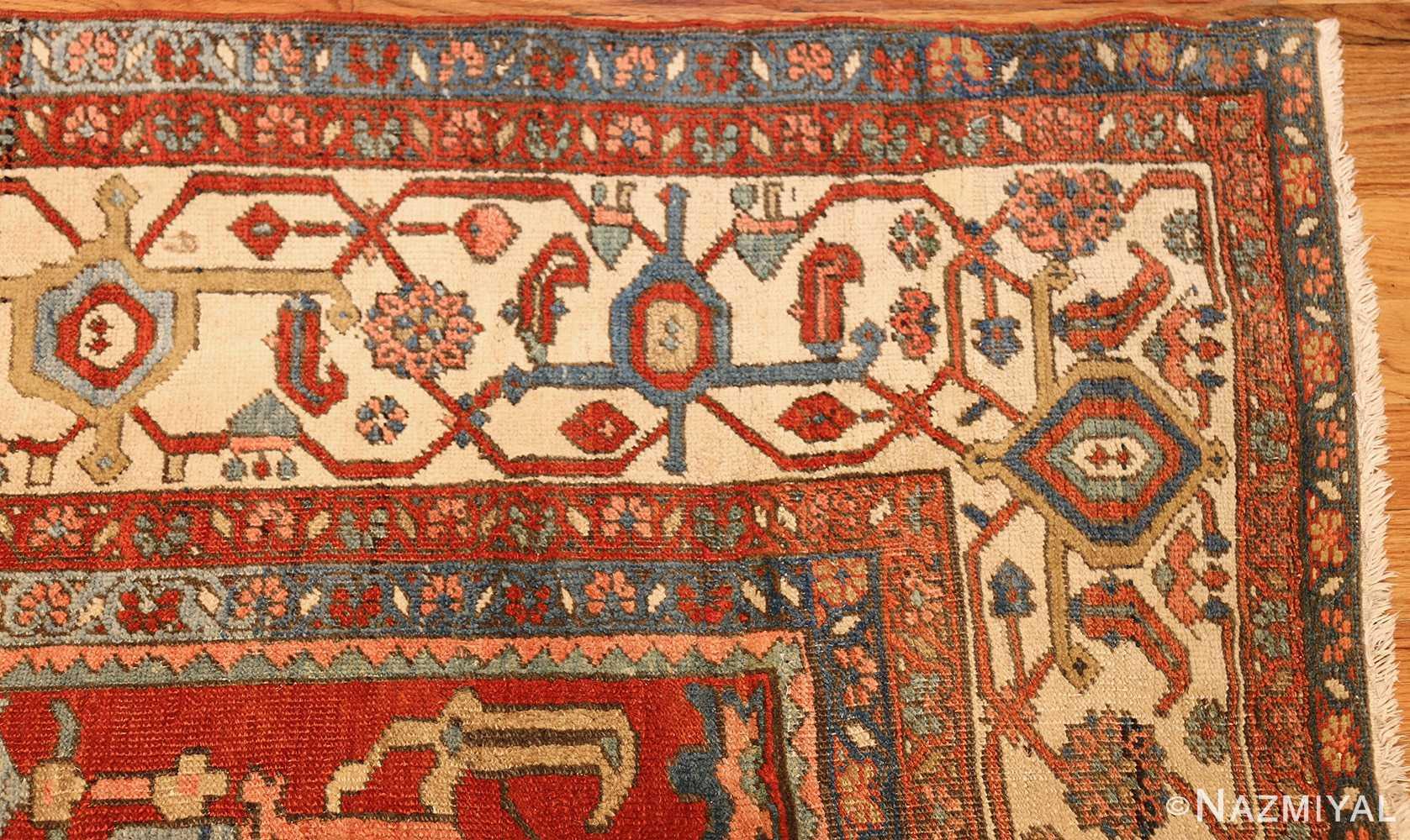antique red background room size persian bakshaish rug 49393 corner Nazmiyal
