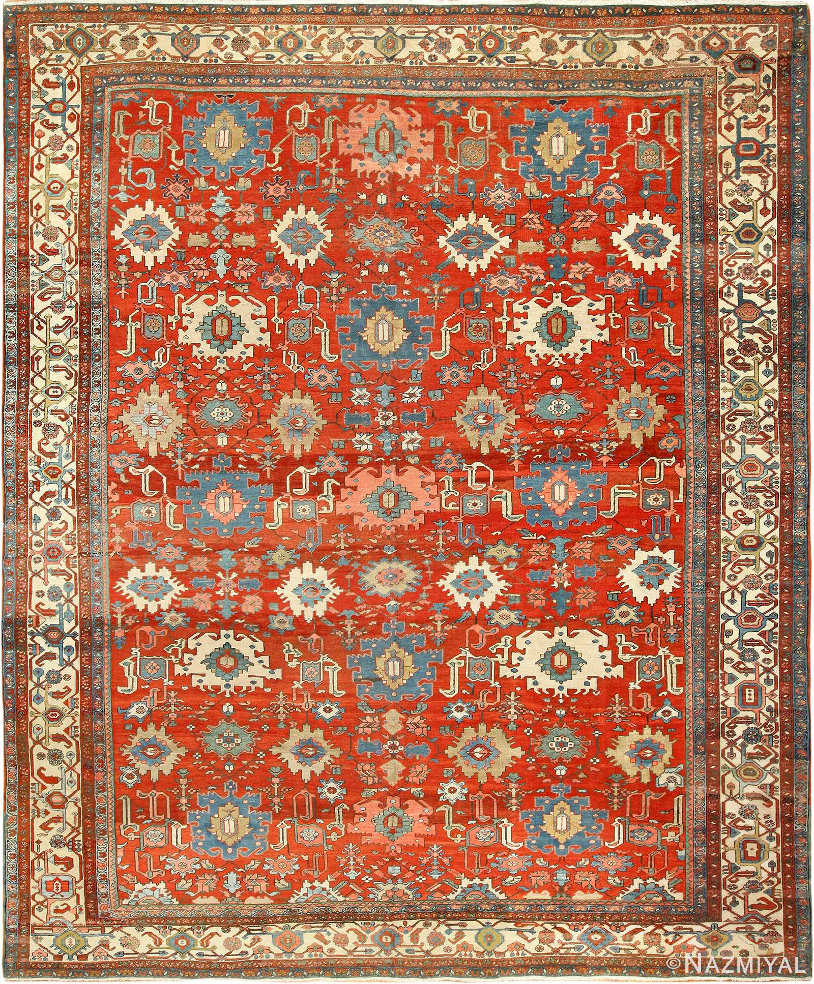 Antique Red Room Size Persian Bakshaish Rug 49393 By