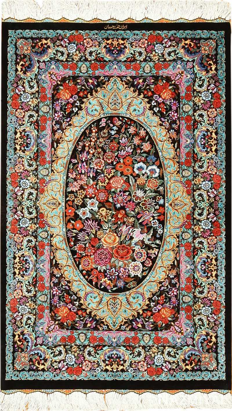 black background silk modern qum persian rug 49410 Nazmiyal
