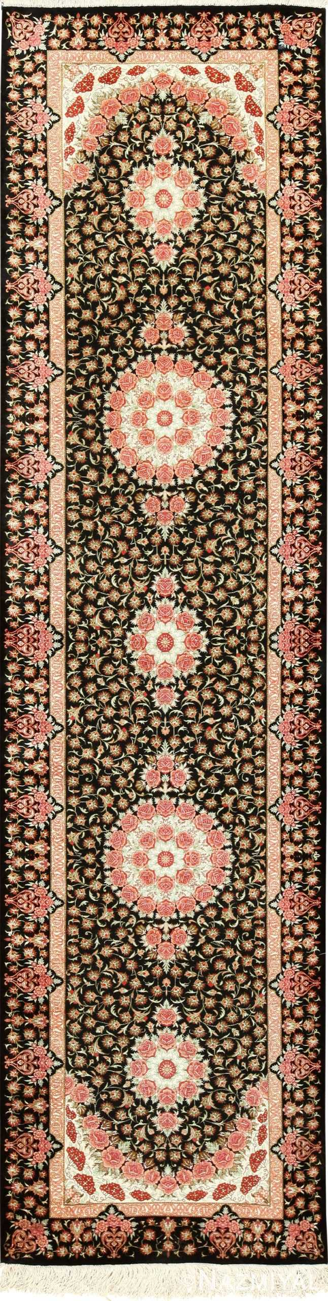 black bakground silk modern qum persian runner 49404 Namziyal