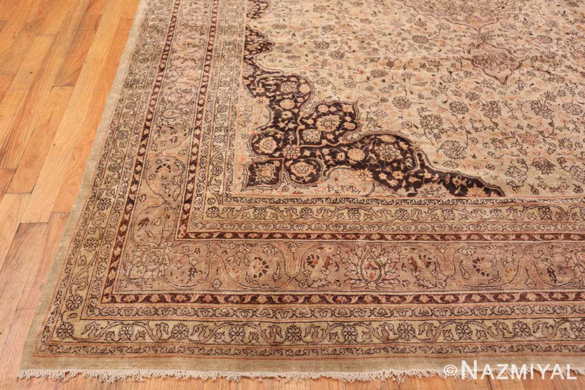 Corner Large floral Ivory and gray Antique Turkish Sivas rug 50416 by Nazmiyal