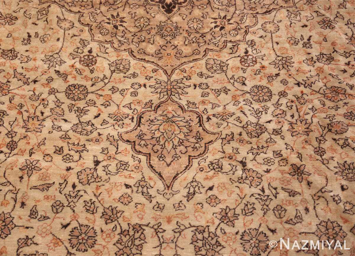 Detail Large floral Ivory and gray Antique Turkish Sivas rug 50416 by Nazmiyal