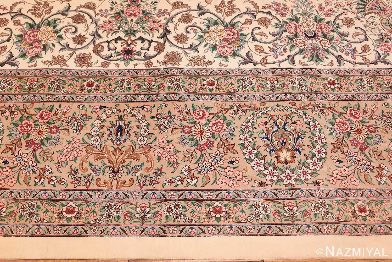 fine modern room size persian silk qum rug 49400 border Nazmiyal