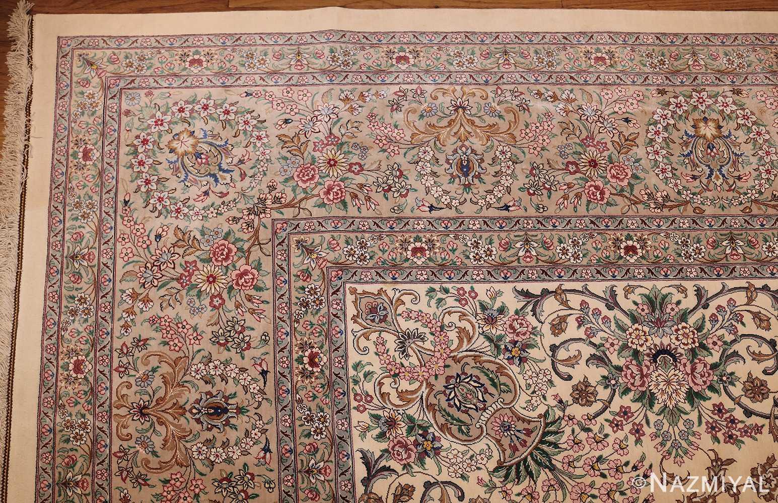 fine modern room size persian silk qum rug 49400 corner Nazmiyal