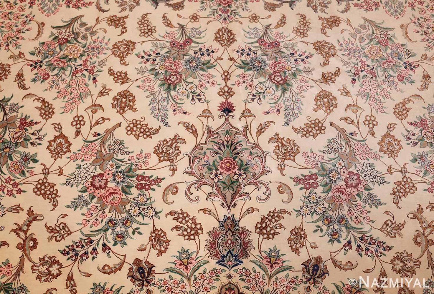 fine modern room size persian silk qum rug 49400 field Nazmiyal