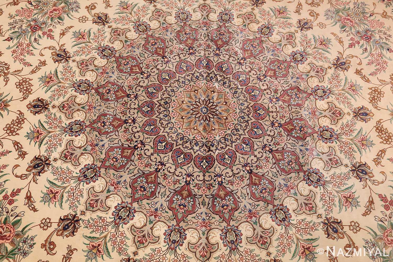 fine modern room size persian silk qum rug 49400 medallion Nazmiyal