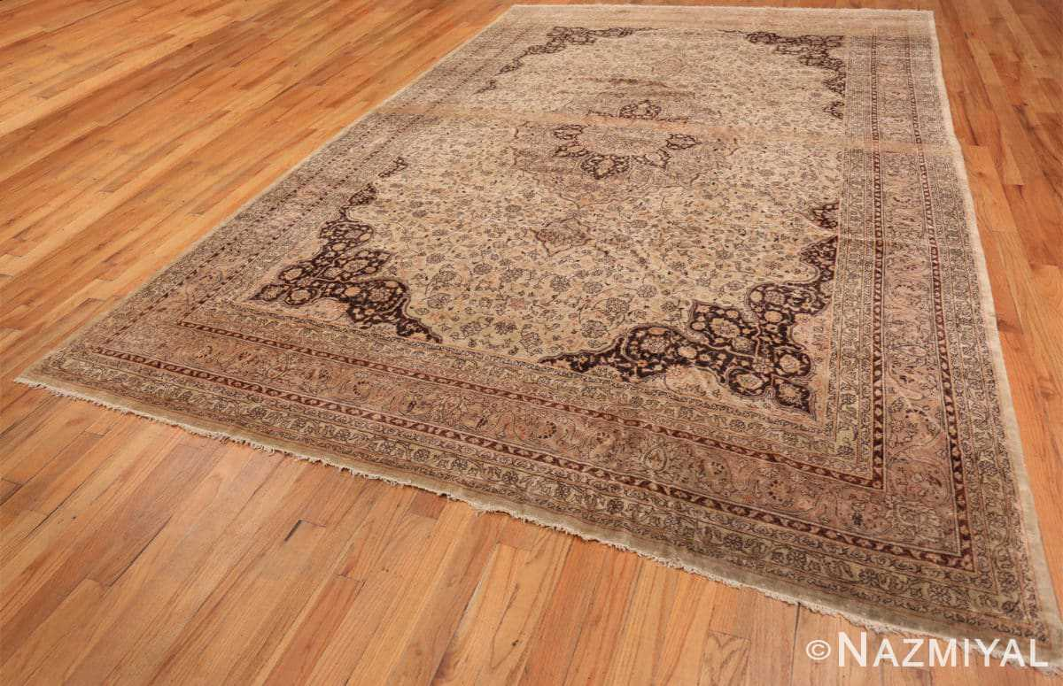 Full Large floral Ivory and gray Antique Turkish Sivas rug 50416 by Nazmiyal
