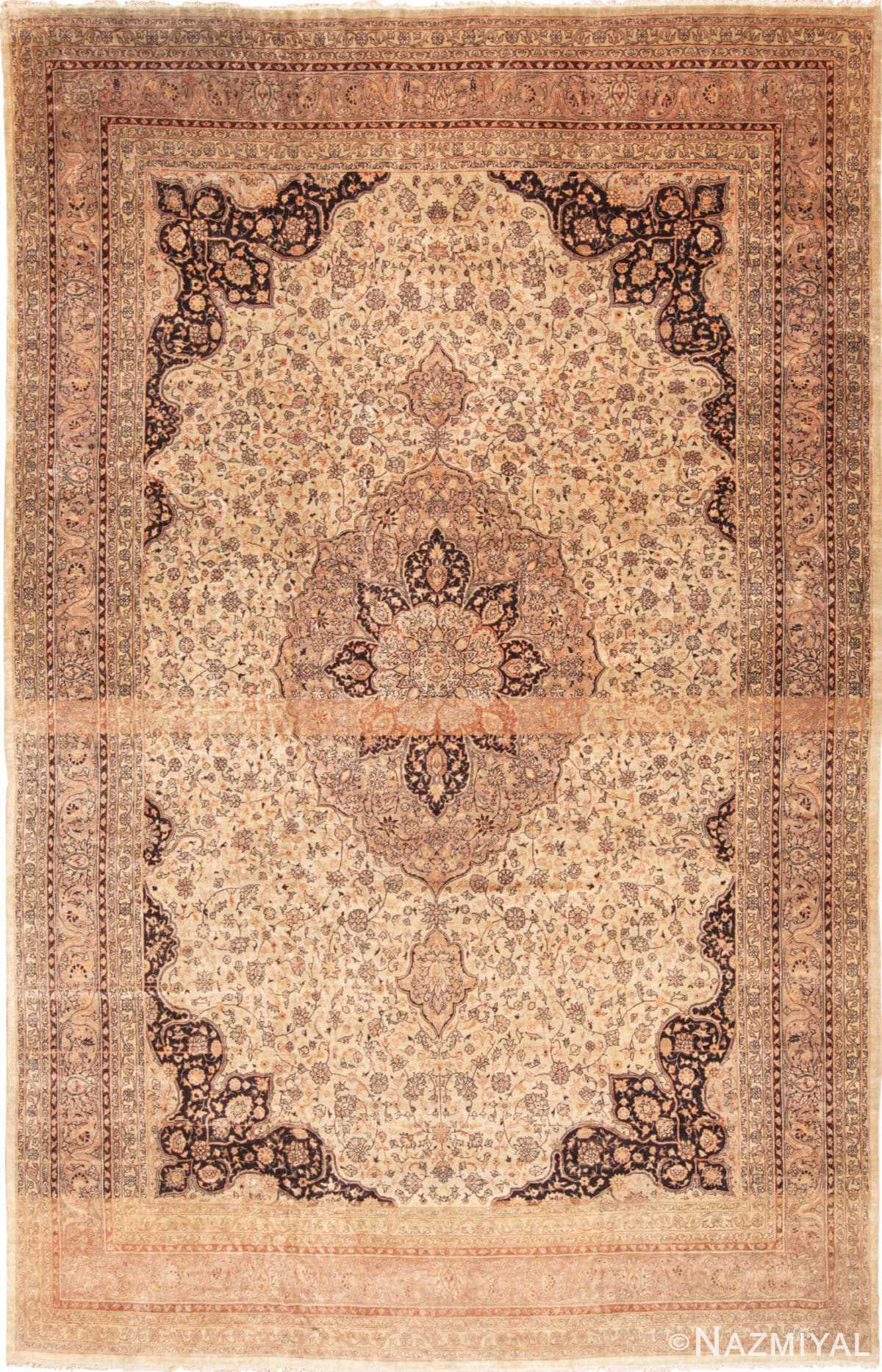 Full view Large floral Ivory and gray Antique Turkish Sivas rug 50416 by Nazmiyal