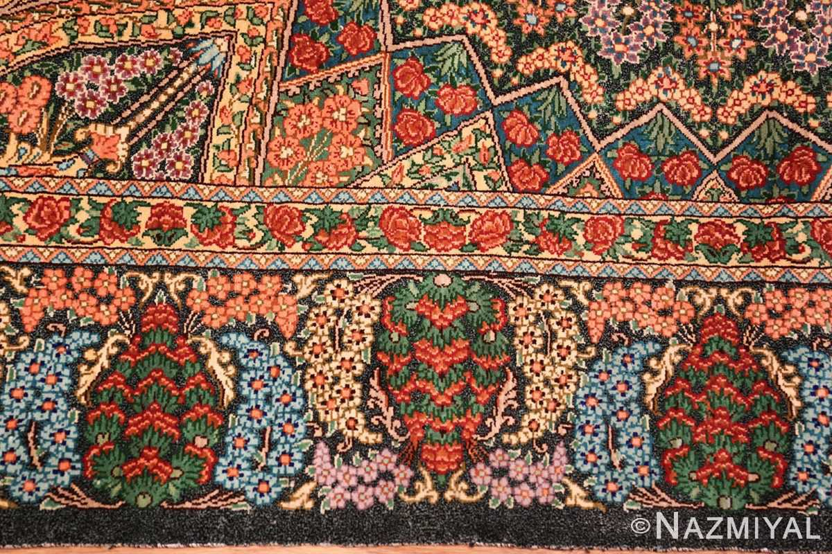 green background modern silk persian qum rug 49413 border Nazmiyal