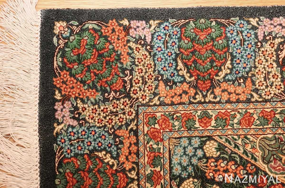 green background modern silk persian qum rug 49413 corner Nazmiyal