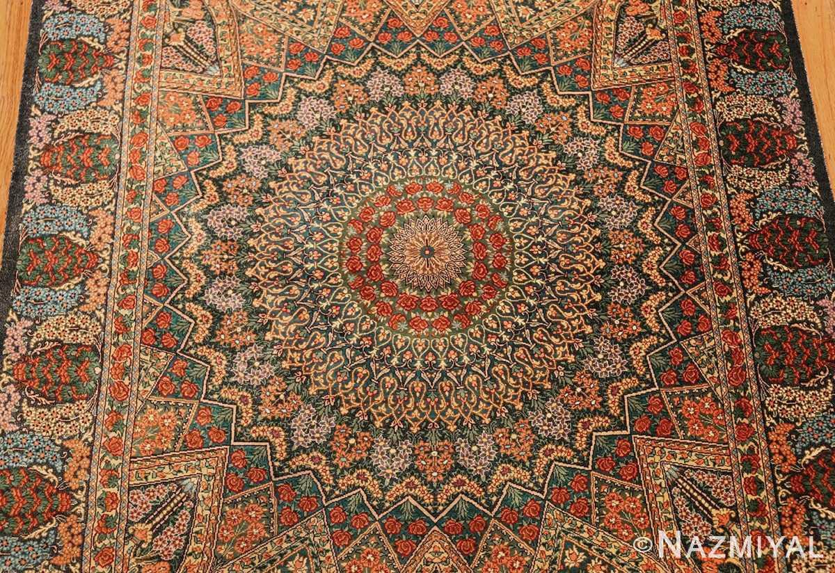 green background modern silk persian qum rug 49413 medallion Nazmiyal
