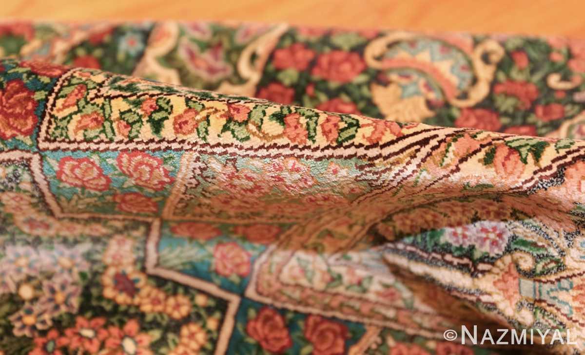 green background modern silk persian qum rug 49413 pile Nazmiyal