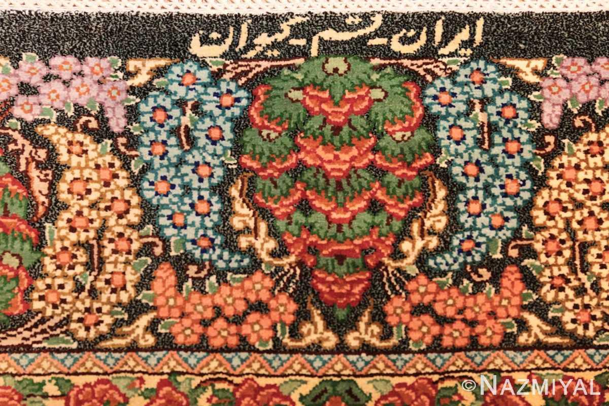 green background modern silk persian qum rug 49413 signature Nazmiyal