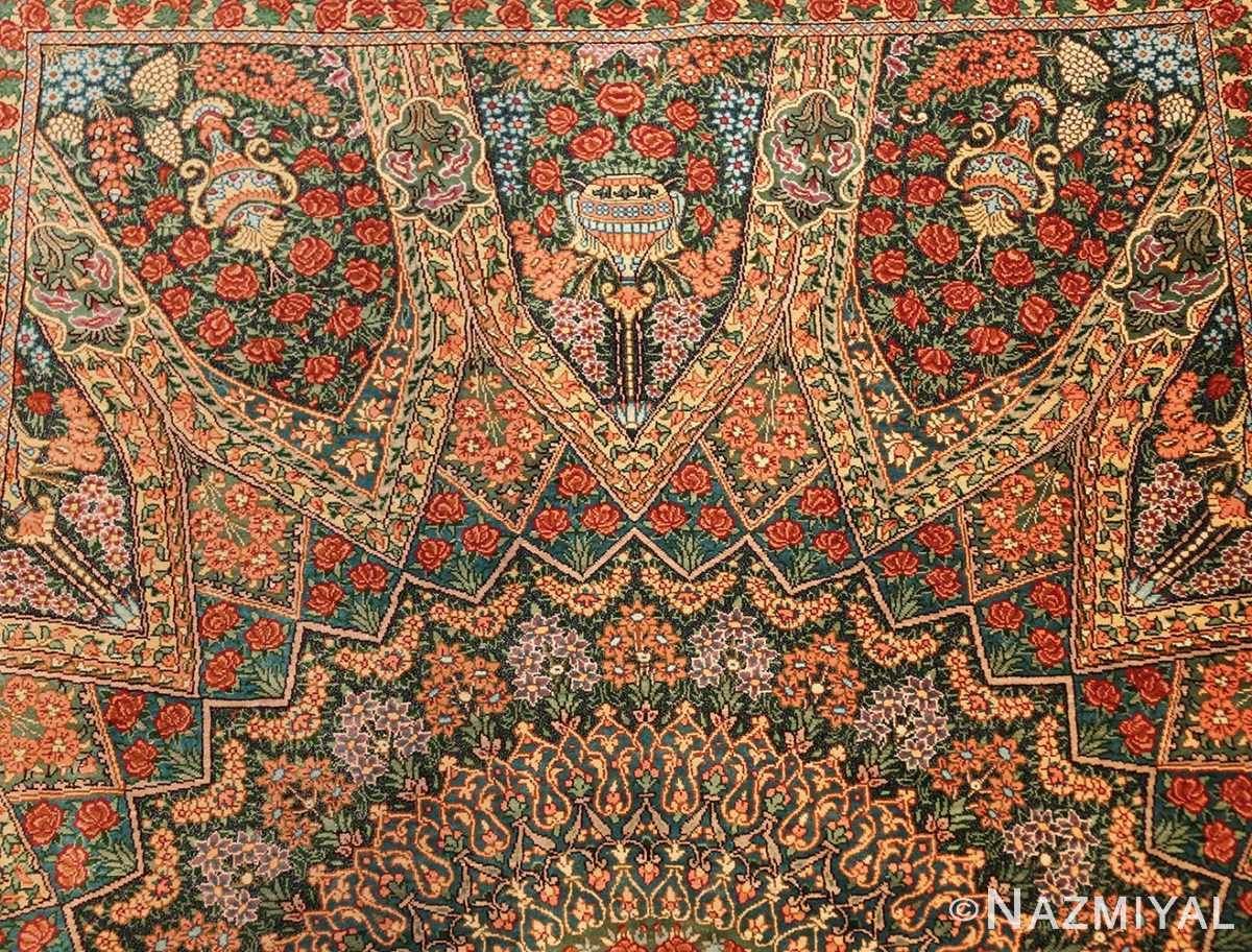green background modern silk persian qum rug 49413 top Nazmiyal