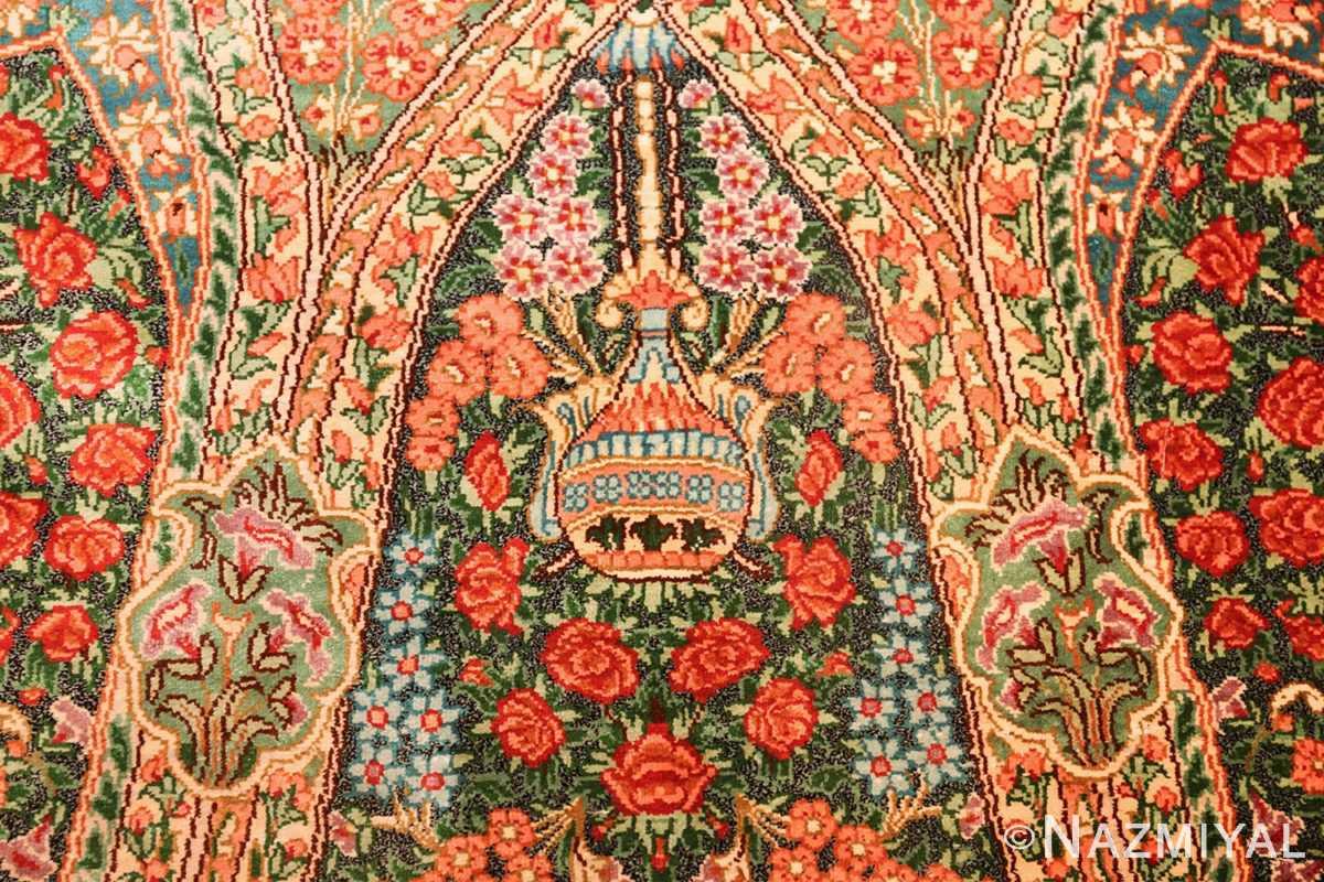 green background modern silk persian qum rug 49413 vase Nazmiyal