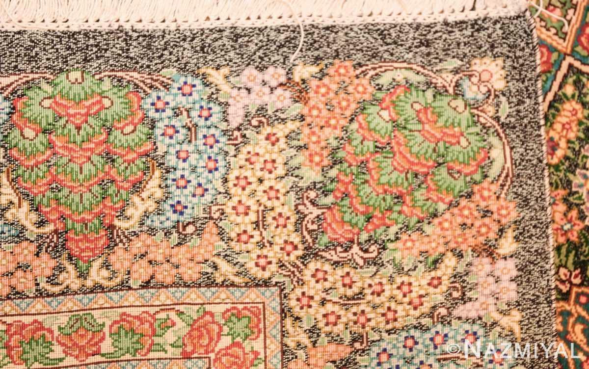 green background modern silk persian qum rug 4941 weave Nazmiyal