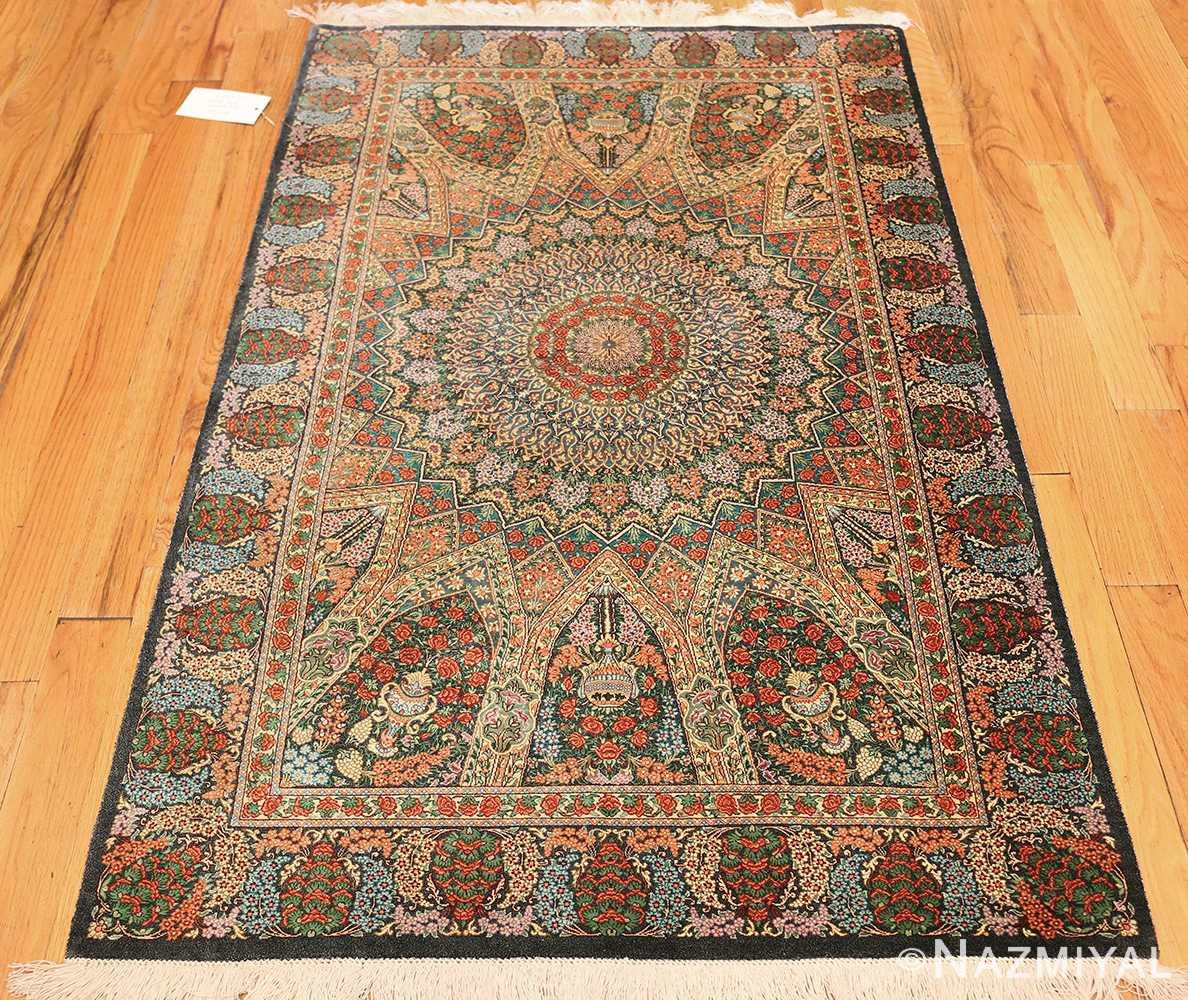 green background modern silk persian qum rug 49413 whole Nazmiyal