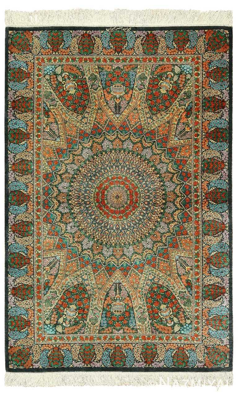 green background silk modern qum persian rug 49413 Nazmiyal