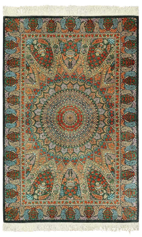 green background silk modern qum persian rug 49413 Nazmiyal