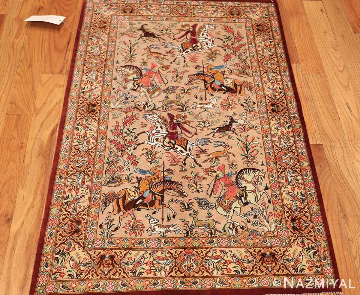 hunting scene modern silk persian qum rug 49411 whole Nazmiyal
