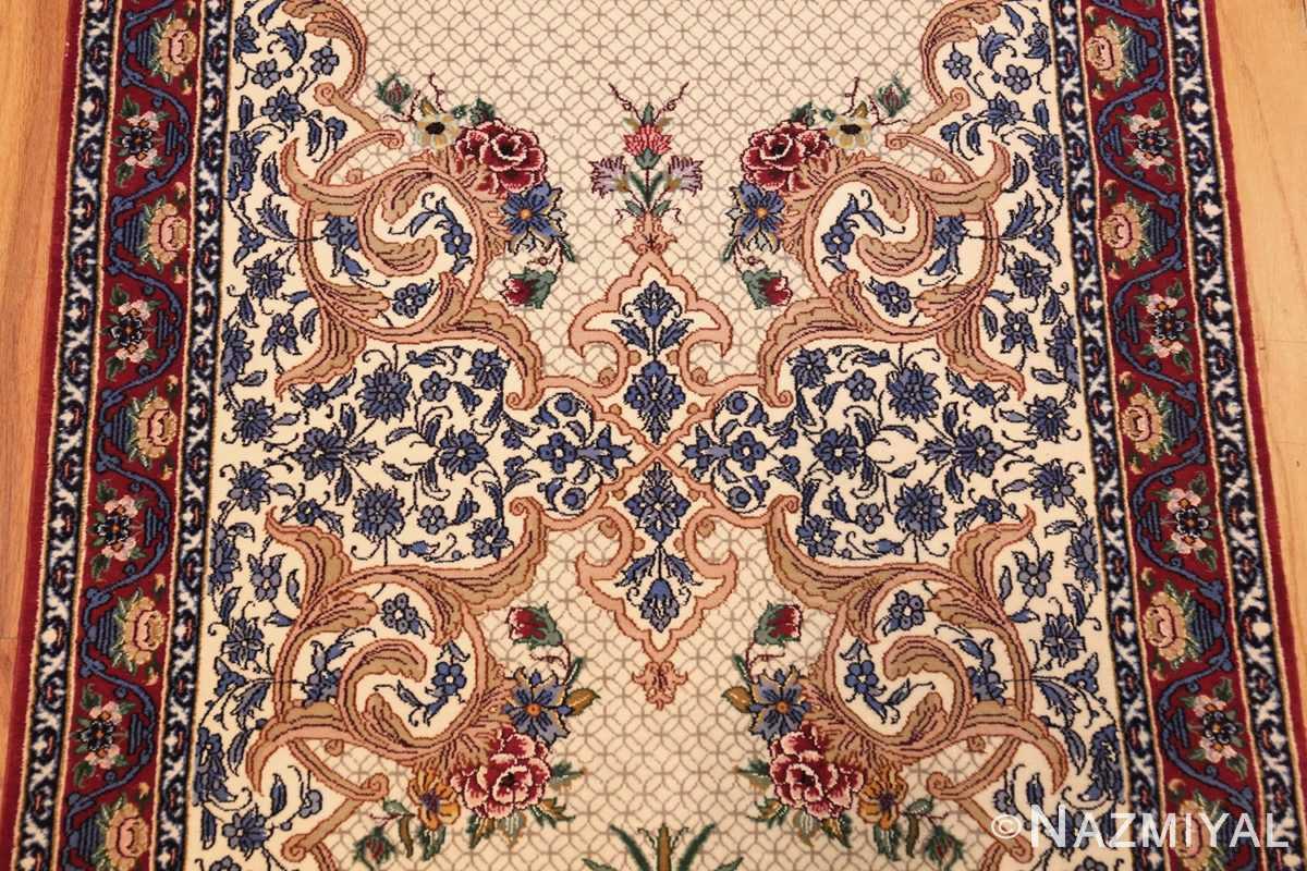ivory modern persian silk isfahan runner rug 49403 design Nazmiyal