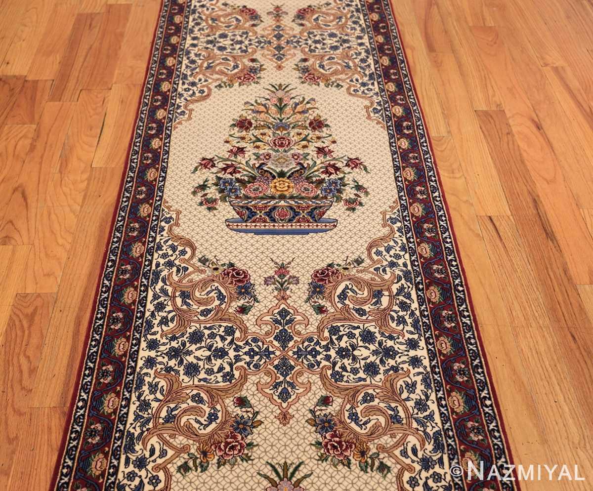 ivory modern persian silk isfahan runner rug 49403 field Nazmiyal