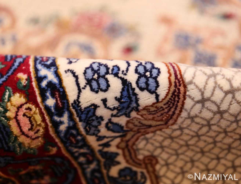 ivory modern persian silk isfahan runner rug 49403 pile Nazmiyal