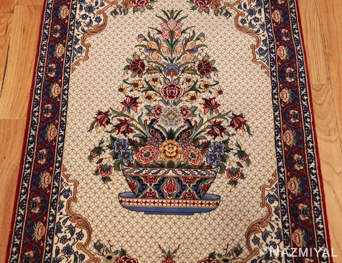 ivory modern persian silk isfahan runner rug 49403 vase Nazmiyal