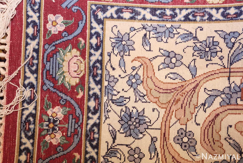 ivory modern persian silk isfahan runner rug 49403 weave Nazmiyal