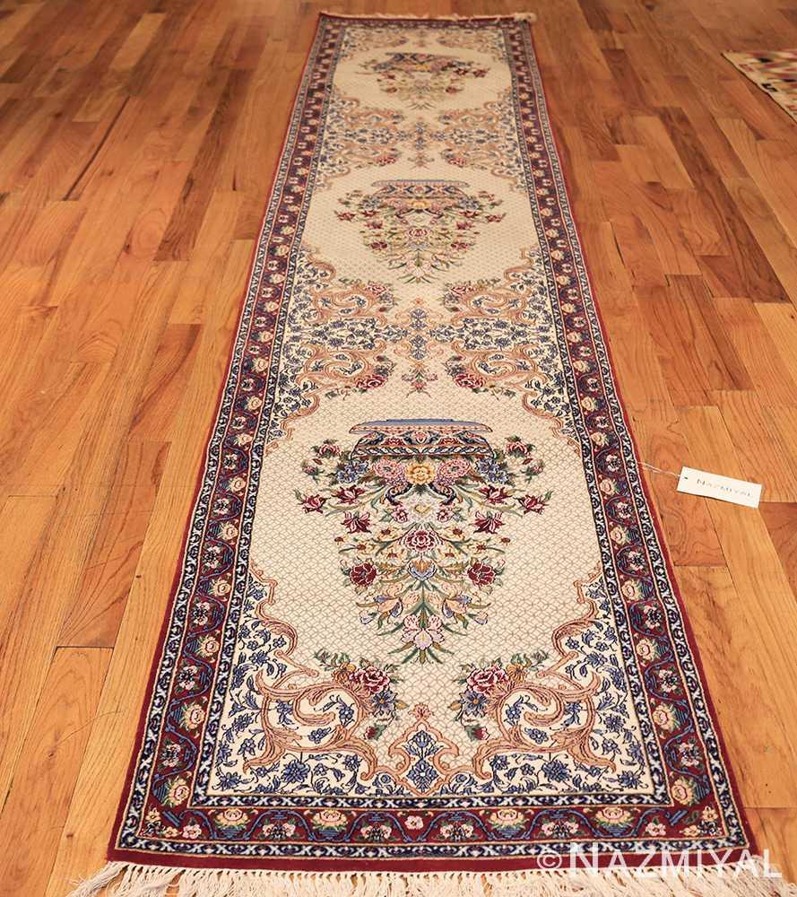 ivory modern persian silk isfahan runner rug 49403 whole Nazmiyal