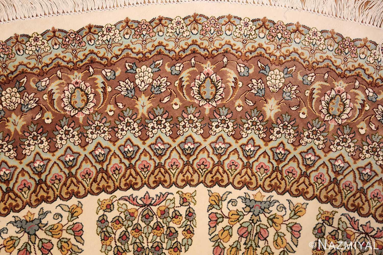 ivory modern round silk persian qum rug 49417 design Nazmiyal