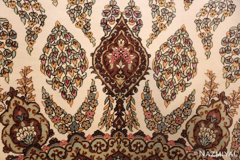ivory modern round silk persian qum rug 49417 field Nazmiyal
