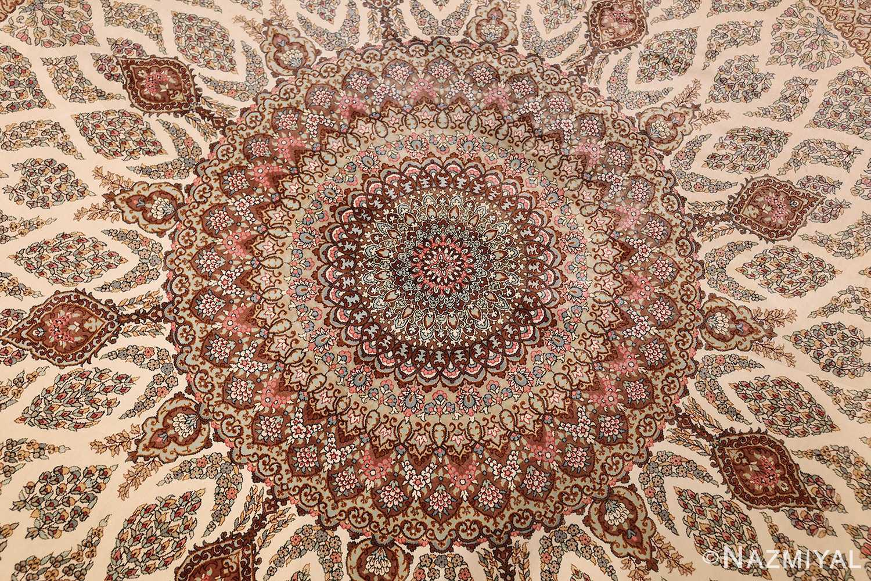 ivory modern round silk persian qum rug 49417 medallion Nazmiyal