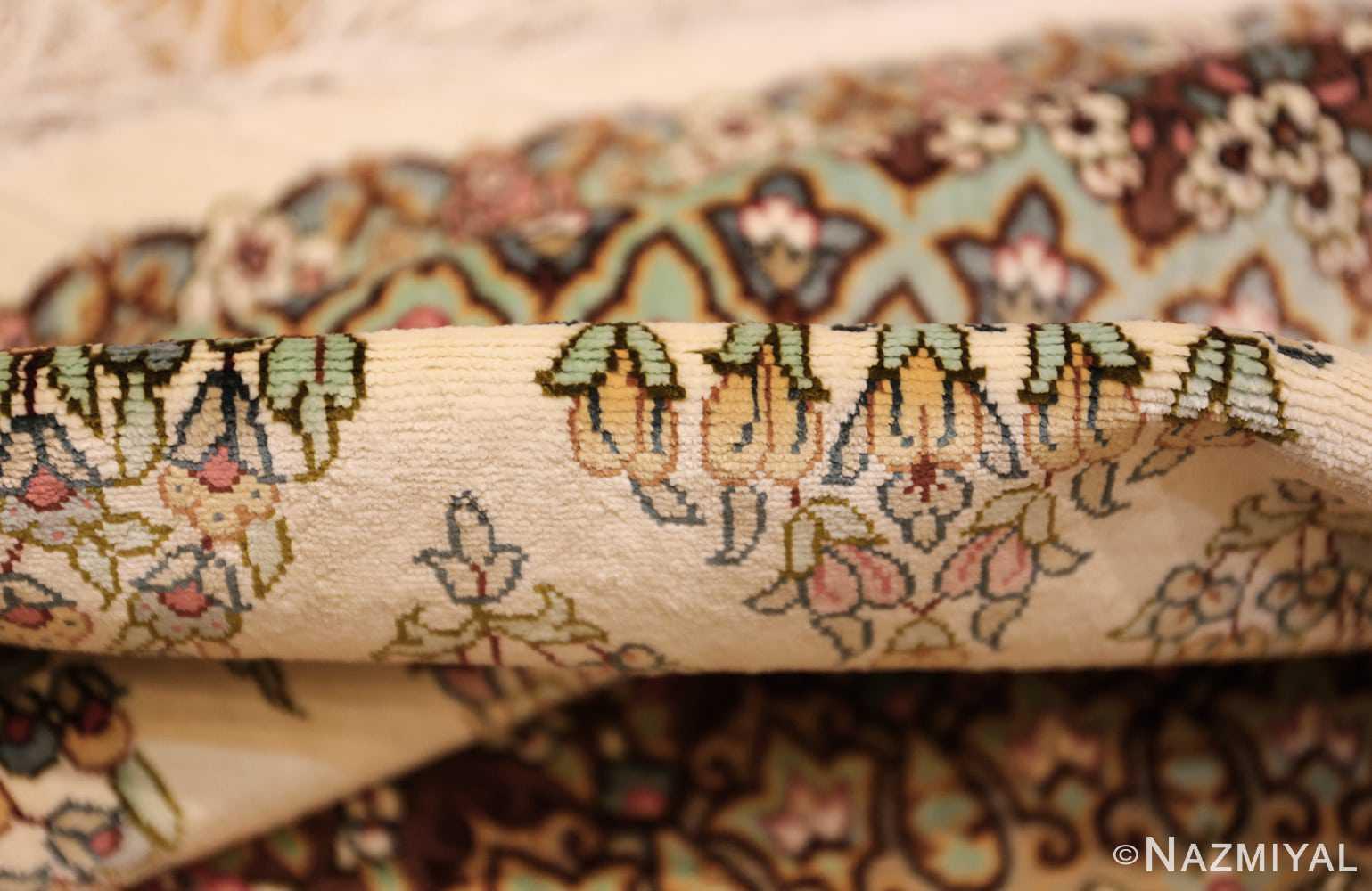 ivory modern round silk persian qum rug 49417 pile Nazmiyal