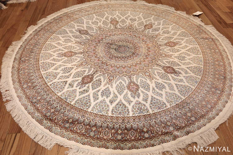 ivory modern round silk persian qum rug 49417 whole Nazmiyal