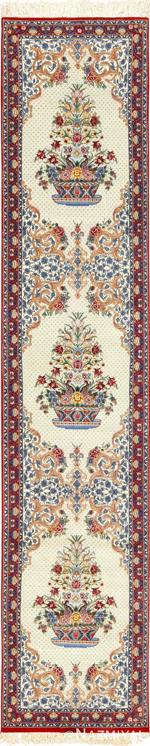 ivory silk modern isfahan persian runner 49403 Nazmiyal