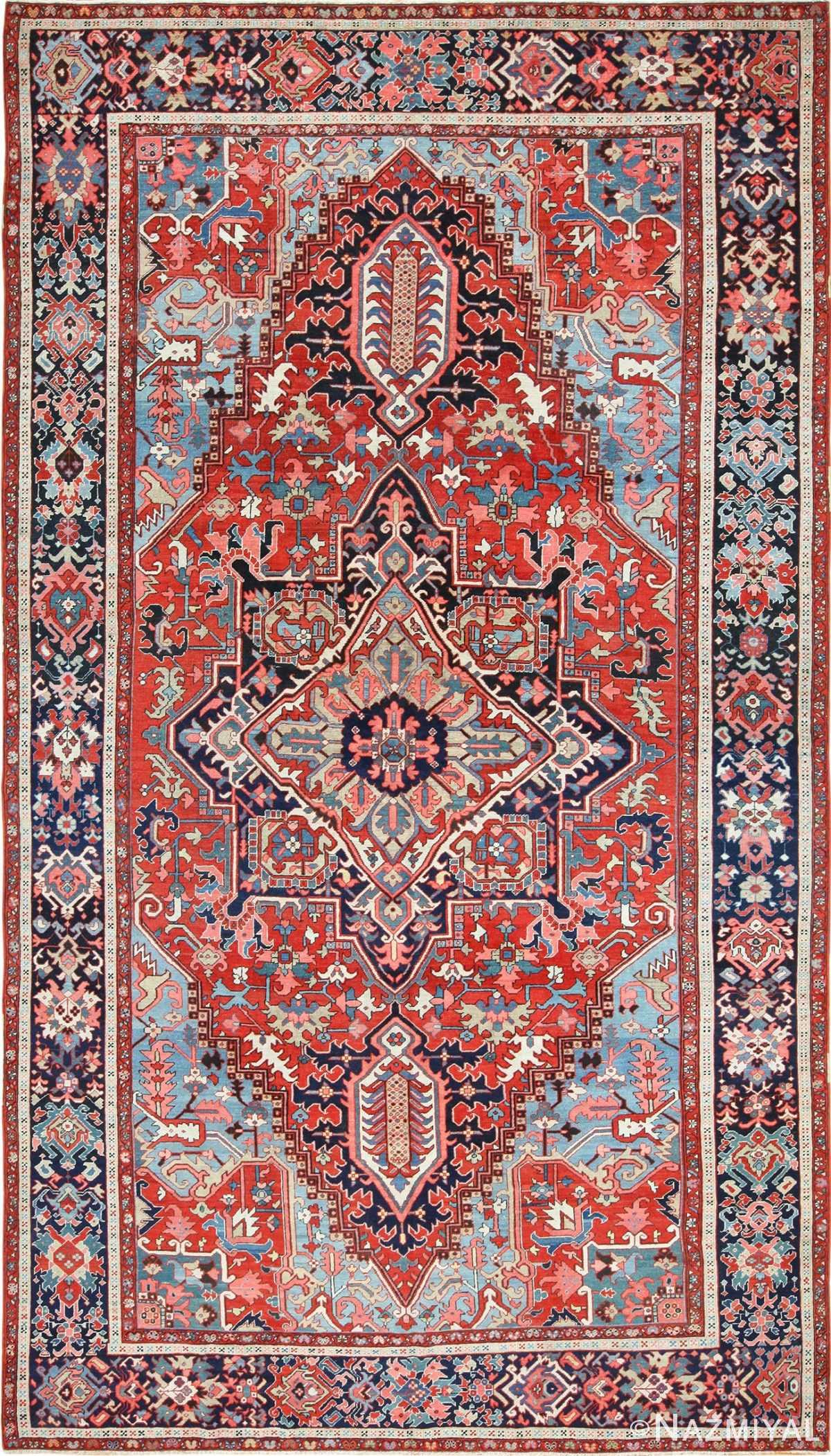 large antique serapi persian rug 49392 Nazmiyal