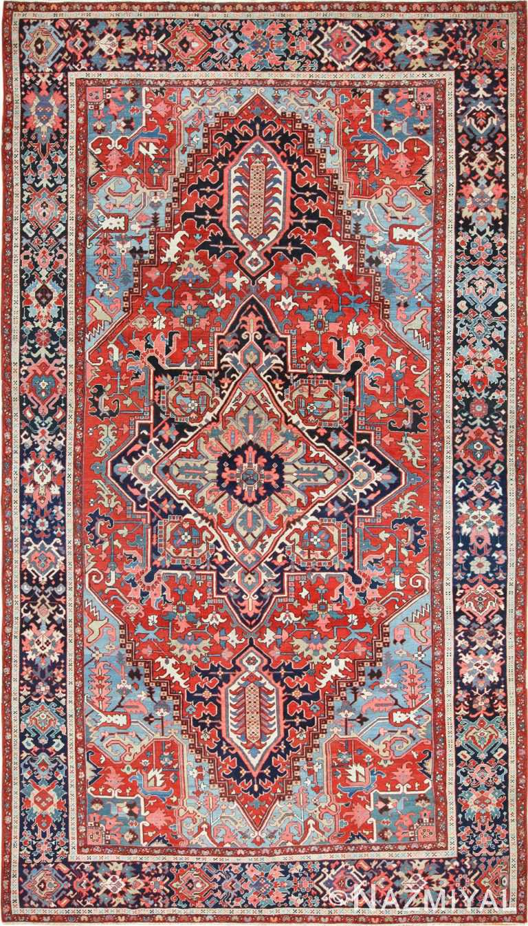 large antique serapi persian rug 49392 Nazmiyal