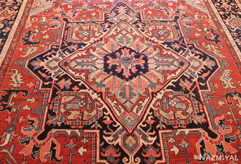 large antique serapi persian rug 49392 medallion Nazmiyal