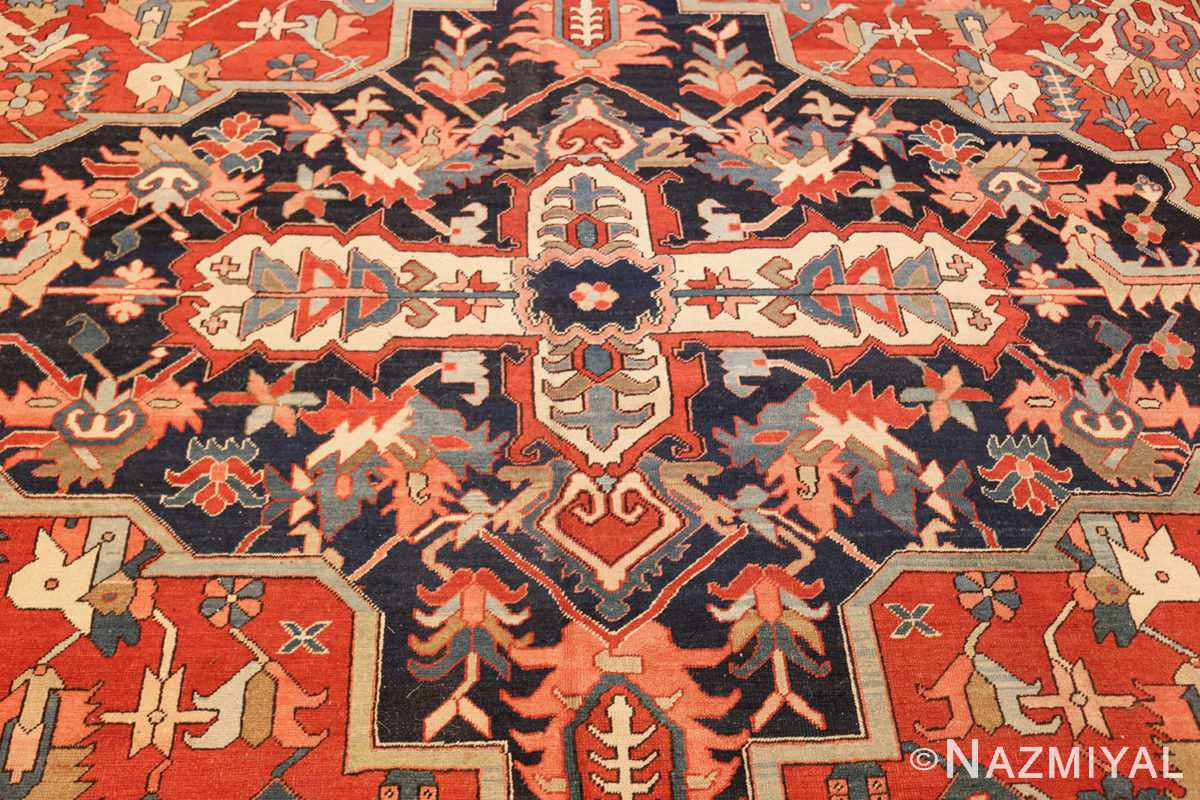 large oriental antique persian heriz serapi rug 49397 medallion Nazmiyal