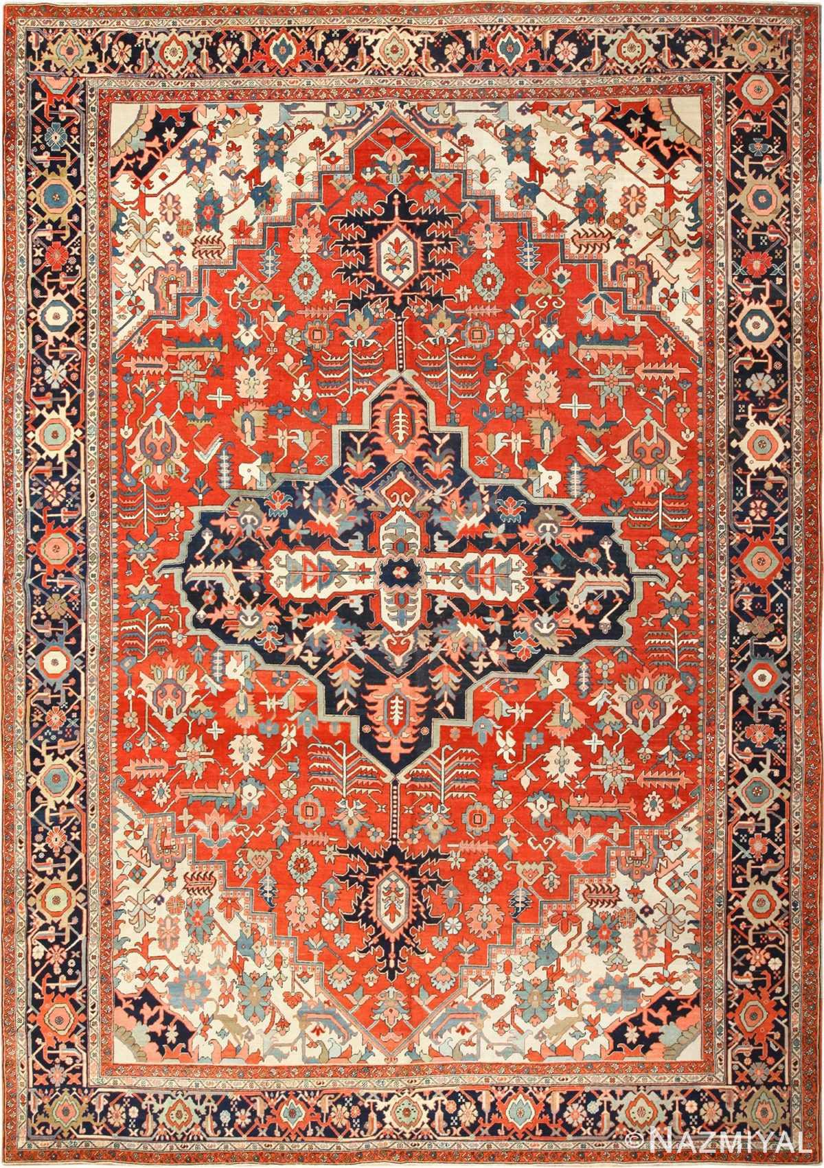 large red antique serapi persian rug 49397 Nazmiyal