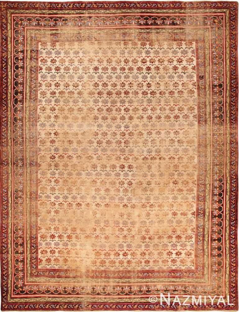large shabby chic antique indian rug 49432 Nazmiyal
