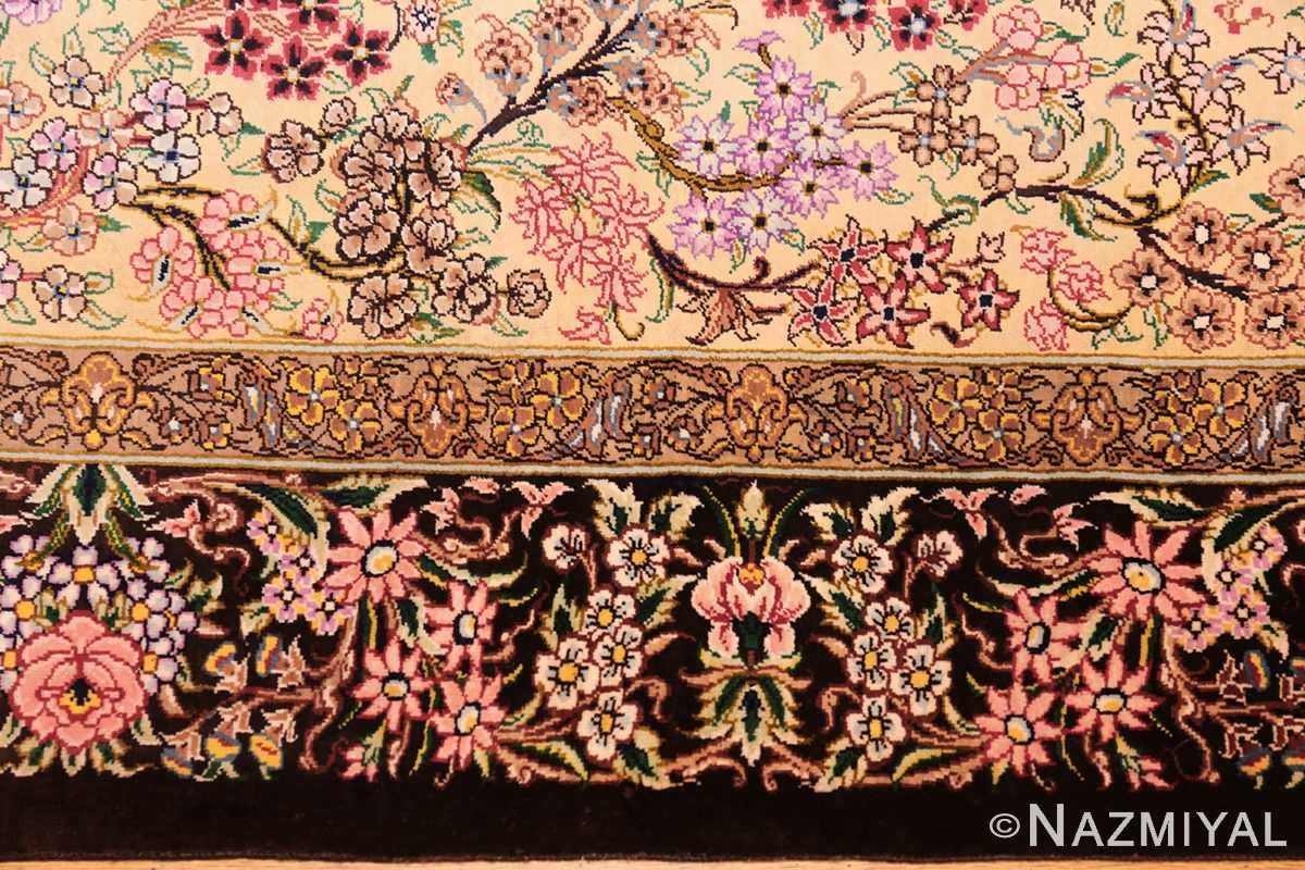 modern persian silk small scatter size qum rug 49405 border Nazmiyal