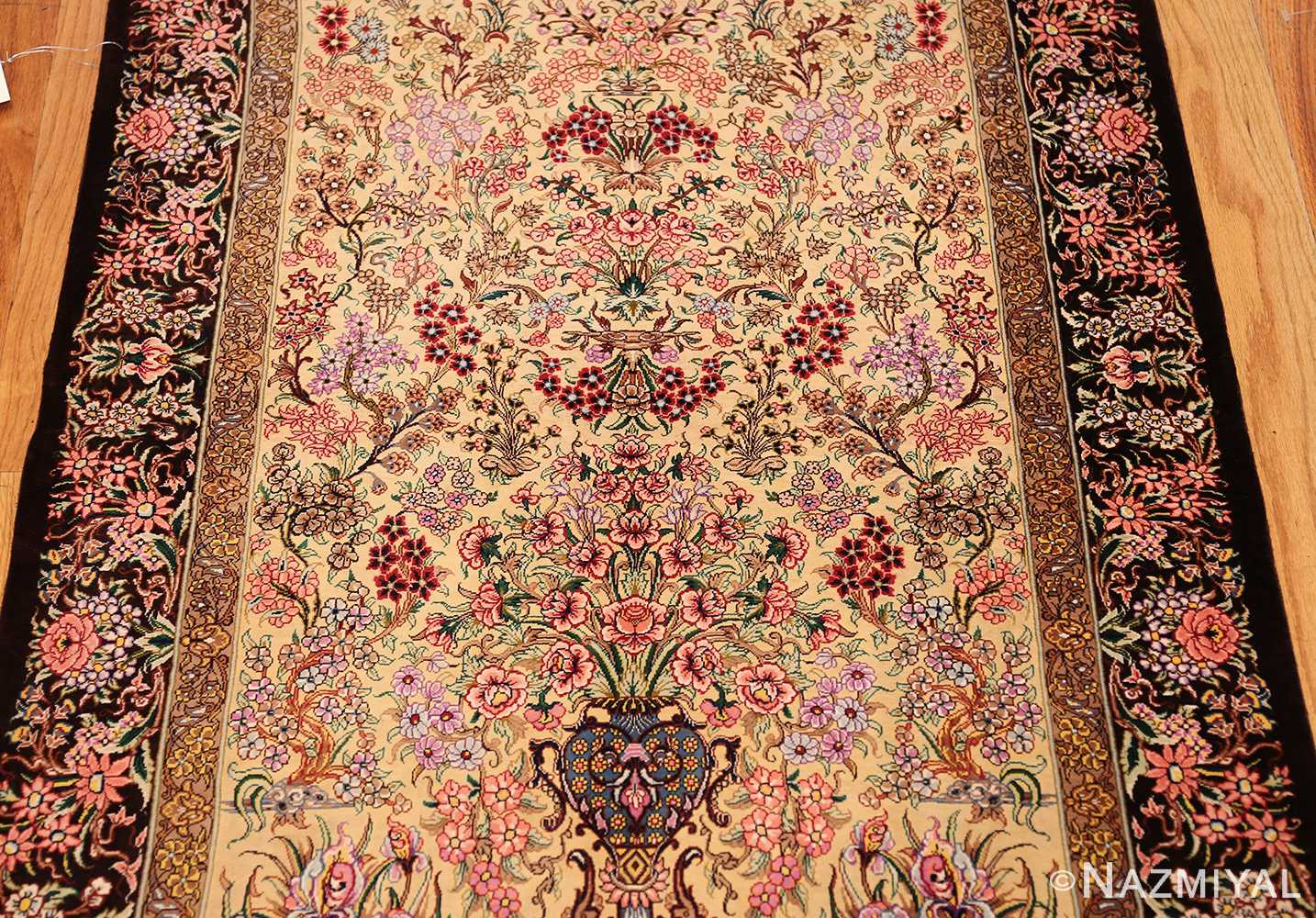 modern persian silk small scatter size qum rug 49405 field Nazmiyal