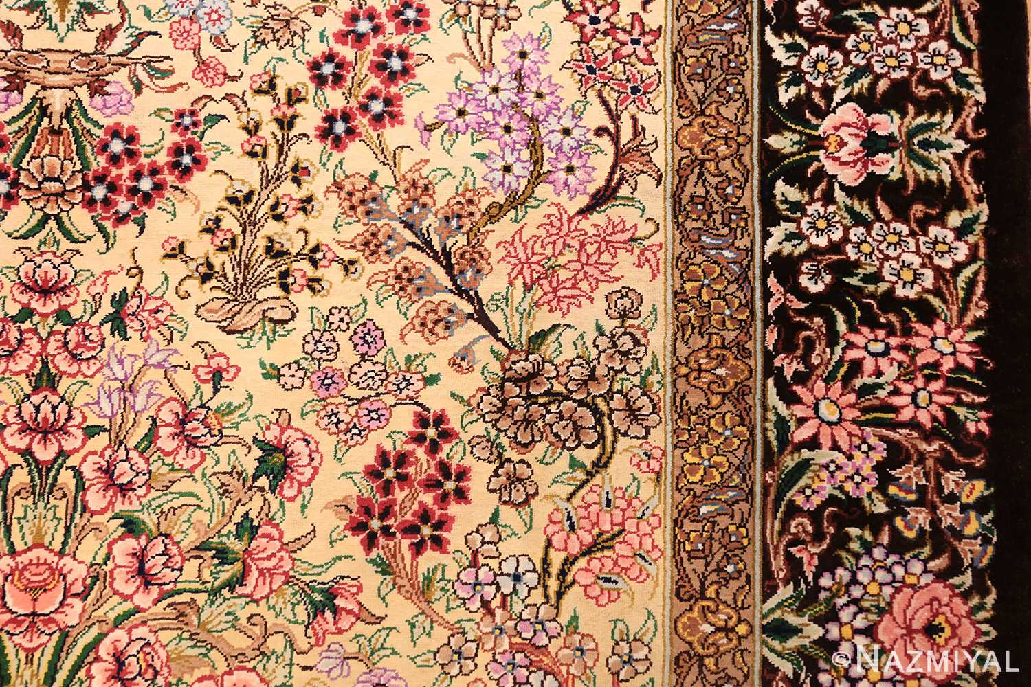 modern persian silk small scatter size qum rug 49405 flower Nazmiyal