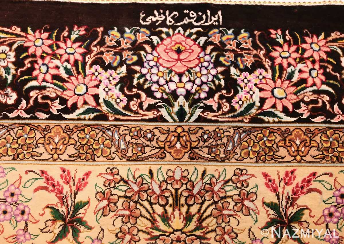 modern persian silk small scatter size qum rug 49405 signature Nazmiyal